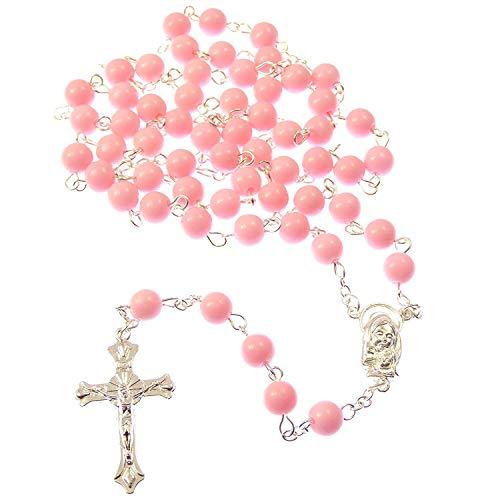 Große rosa lange katholische Rosenkranz Perlen Mary Jesus Zentrum (Jesus Zentrum Das Ist)
