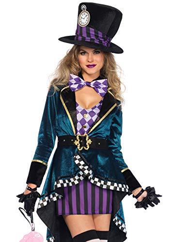 LEG AVENUE 85592 Herrliche Mad Hatter Damenkostüm Größe - Schwarz Mad Hatter Kostüm