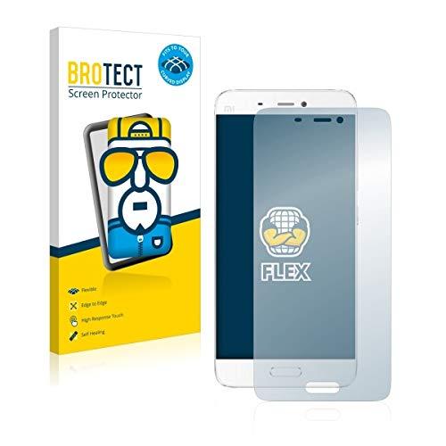 2X BROTECT Flex Full-Cover Bildschirmschutz Schutfolie für Xiaomi Mi5 (kristallklar, Edge to Edge, Self-Healing, stoßabsorbierend)