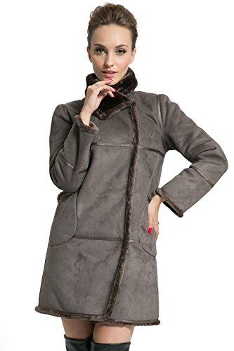 Ovonzo delle donne di stile invernale morbida pelle scamosciata del Faux Leather Pea Coat Anca Lunghezza Grigio Taglia XS