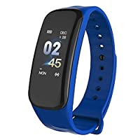 KYLL Sport Smart Watch, Fitness Tracker with Heart Rate Monitor, IP68 Waterproof Pedometer with Sleep Monitor, Connect with APP (Color : Blue)