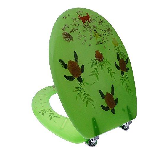 Preisvergleich Produktbild Toilettendeckel Deckel Wc-Sitz mit Schildkröten Grün Antibakteriell