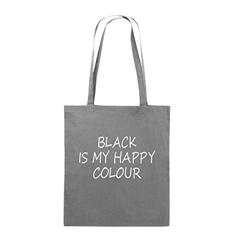 Comedy Bags - BLACK IS MY HAPPY COLOUR - Jutebeutel - lange Henkel - 38x42cm - Farbe: Schwarz / Silber Dunkelgrau / Weiss