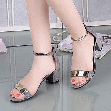 Sandales femme SummerPeep fendue Toe Chaussures confort Mode Club tous les MatchOffice & Robe Carrière Joint de séparation de Talon Gray