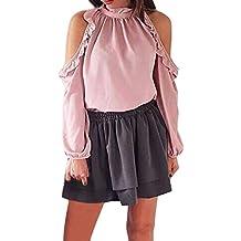 Mujer Blusa Camisa Manga Larga,ZARLLE Moda Mujer Solid Volantes Manga Llena Con Volantes Blusa