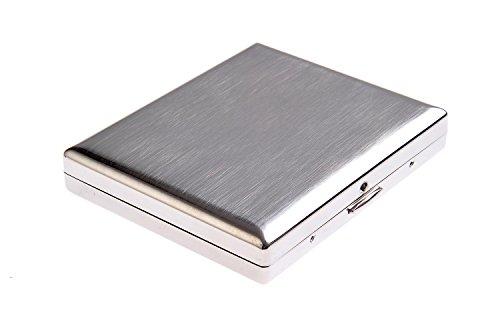 Quantum Abacus Zigarettenetui aus hochwertigem Edelstahl, klassisch minimalistisch, für 18 Zigaretten, Mod. KC1-01 (DE)