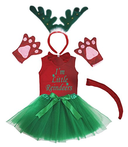 Petitebelle 3D Little Reindeer Green Headband Gloves Tutu Shirt 6pc Girl Costume (1-2 Years)