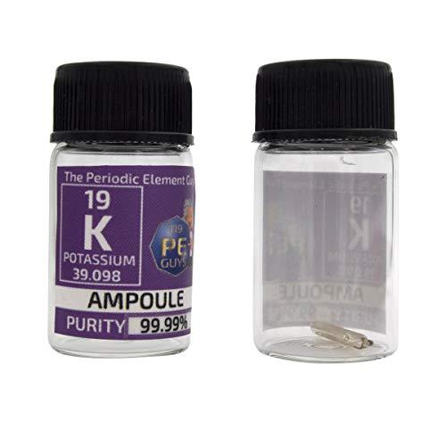 Kalium Metallelement 19 Probe 15 mg Ampulle 99,99% in beschrifteter Glasflasche