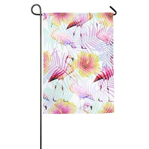 Dozili Flagge Tropische Flamingos Hausdekoration Gartenflagge wetterfest & doppelseitig Hofflagge, Polyester, bunt, 12.5