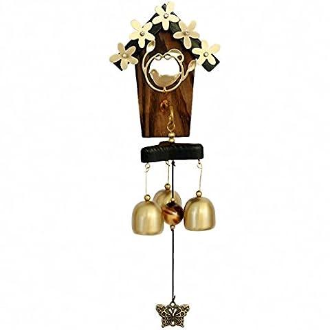Antik Amazing 3oder 6Glocken Wind Bells Kirche Glocken Holz/Messing Windspiel Wand/Tür Hängende Dekoration Home/Garden Wind Chimes 3 bells