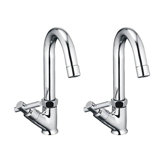 Drizzle Swan Neck Pillar Cock Tarim Brass Chrome Plated/Wash Basin Tap / 360 Degree Moving Spout Tap/Bathroom Tap/Quarter Turn Tap/Water Foam Flow Tap - Set of 2