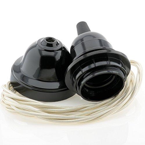 Bakelit Deckenleuchte, Vintage-Stil, inkl. Period Black Rose und E27 Lampenfassung, geflochtener Dreikern-Flex, Schwarz Antik Classic Ivory Flex -