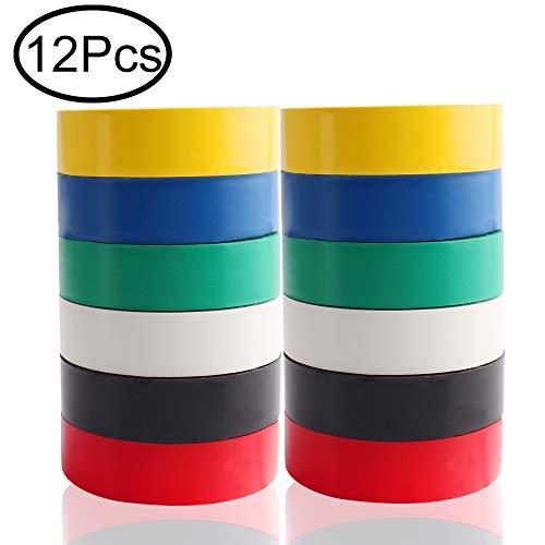 defrsk 12Pack PVC Isolierband Isolierband für Kabel Kabel Stecker 6Farben 16mm breit 50Füße -