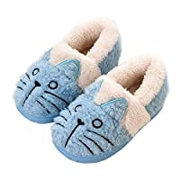 KVbaby Girls Slippers Winter Kids House Slippers Boys Plush Warm Indoor Shoes Soft Slip On Bedroom Slippers Comfort Mule Outdoor 2-Blue 10-11 UK Child (Label Size:200)