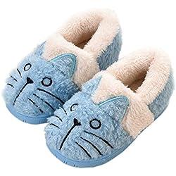 Zapatillas de Estar por Casa para Niñas Niños Invierno Zapatillas Interior Casa Caliente Pantuflas Suave Algodón Calentar Zapatilla Mujer Hombres Azul2 30-31 EU (Fabricante: 210)