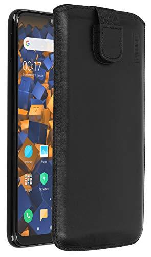 mumbi Echt-Leder Tasche kompatibel mit Xiaomi Redmi Note 7, (Lasche mit Rückzugfunktion, Ausziehhilfe), schwarz
