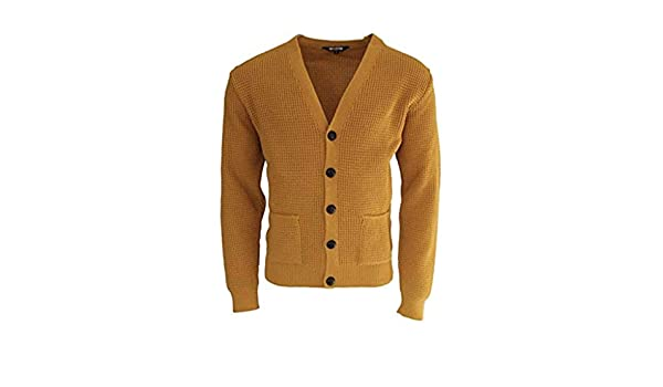 Relco Mens Mustard Waffle Knit Cardigan with Football Buttons   Amazon.co.uk  Clothing bf7e79c83