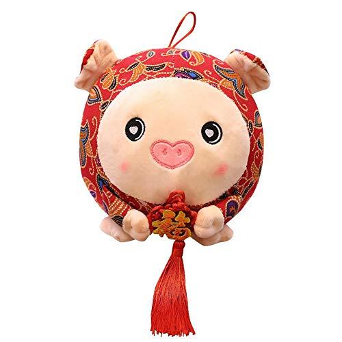 Maskottchen Schwein Puppe, 2019 neue Jahr Chinese Zodiac Plüsch Schwein Puppe hängen Anhänger rot Floral bedruckte gefüllte Glücksschwein Plüschtier mit chinesischen Knoten für Kinder und ()