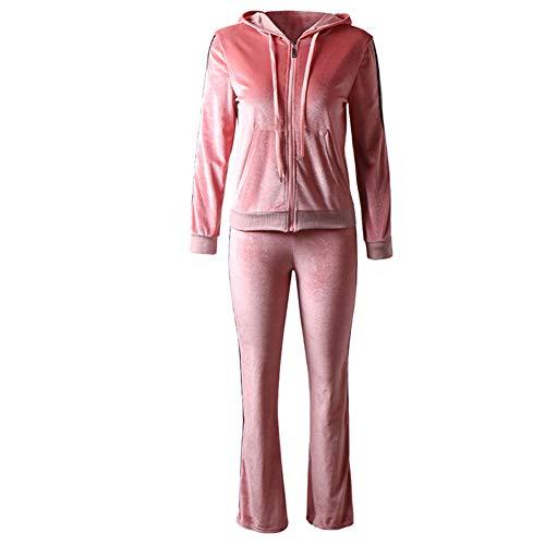 HOUXIAONI Tuta Sportiva da Donna in Velour Tinta Unita con Cappuccio e Pantaloni, Tuta Sportiva 2 Pezzi Rosa M