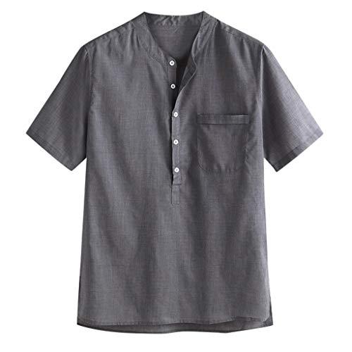 Herren Fit Hemd mit Front-Tasche & Button-down Sommerhemd Herren Freizeithemden aus Leinen und Baumwolle M-3XL ()