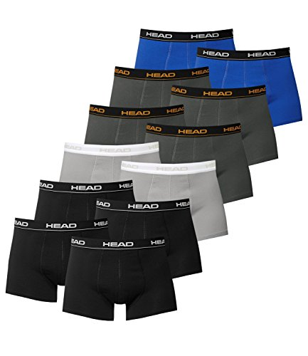 HEAD Herren Boxershorts 841001001 12er Pack 4x Schwarz / 2x Grey / 4x Dark Shadow / 2x Blue/Black