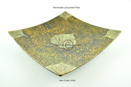 faite à la main en bois laqué, Merveille, forme carrée de plaque décorative et assiette de service, taille Medium, Jaune, H048 m
