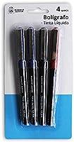 Market Suprem A5425 Set 4 bolígrafos 0.5 mm, Azul Negro y Rojo, 14 cm, Metal, Multicolor #