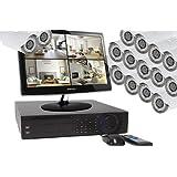 Kamatec - Kit vidéosurveillance 16 caméras 1000 lignes intérieur/extérieur vision nocturne - détection de mouvement - alertes intrusion PUSH ou mail