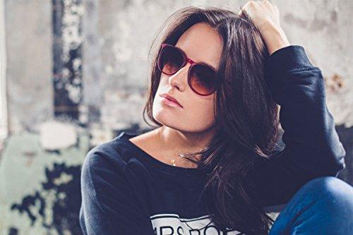 Cheapass Sunglasses Lunettes Rondes Noir Brun Leo Rétro Femmes Hommes Rouge