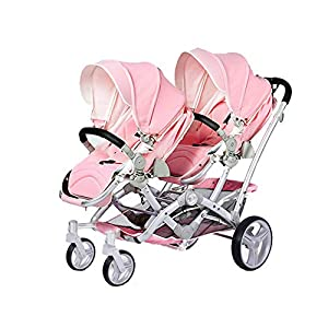 Baby Strollers Double Pushchair Twins Tandem Pushchairs, Reversible Seat Convertible Front And Rear Seats Lightweight with Convertible Bassinet Stroller Extended Canopy/Large Storage Basket,Pink   4
