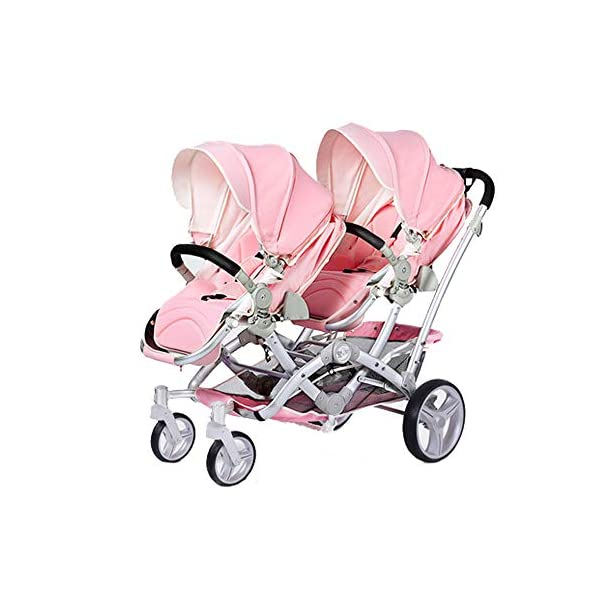 Baby Strollers Double Pushchair Twins Tandem Pushchairs, Reversible Seat Convertible Front And Rear Seats Lightweight with Convertible Bassinet Stroller Extended Canopy/Large Storage Basket,Pink MYRCLMY ♥TWIN STROLLER: Getting everywhere with two little ones has never been easier, thanks to the Double Strollers; you can glide around town even when you only have one hand free to steer; you can even roll through a standard size doorway. ♥ADJUSTABLE BACKREST & CONNECTABLE SEATS :The backrest can adjust to fit baby's sleep posture to keep comfortable sleeping. Two seats can be connected to lengthen the seat. ♥SAFETY WHEELS & 5-POINT SAFETY BELTS:The springs in front wheels absorb shocks for easy to control direction and safety. The 5-point safety belt is equipped with each seat to ensure security while keeping your baby fit to the safety belt to feel comfortable. 1