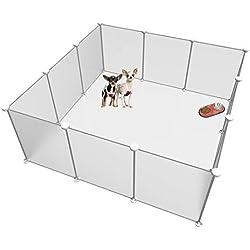 Langxun Taille réglable en Hauteur Libre de Parc pour Animaux de Compagnie Bricolage - Organisateur de Cubes en Plastique de Stockage de Fil - Panneaux Blancs 12 givrés