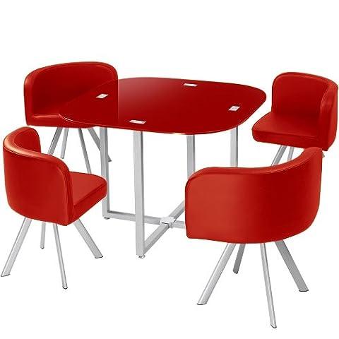 Menzzo P803 Contemporain Mosaic 90 Table et Chaises Métal/Verre Rouge 90 x 90 x 75 cm