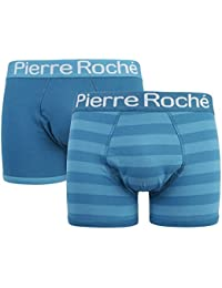 PIERRE ROCHE 2 Pairs Mens Boxers Boxer Shorts Trunks Designer Waistband Cotton