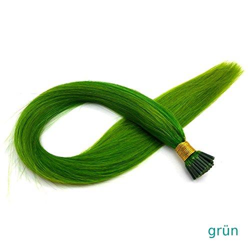 10 bunte Microring Extensions I-Tip, Remy Echthaar 50 cm, 1 Gramm für Haarverlängerung oder Haarverdichtung (25 Strähnen, grün)