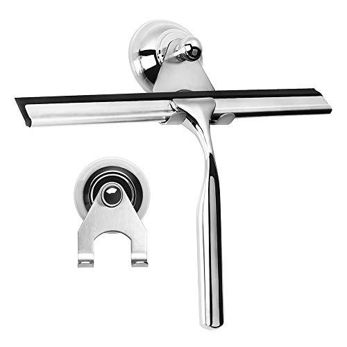 Duschabzieher Edelstahl Fensterabzieher mit Wandaufhänger Duschwischer Silikon-Wischlippe Duschkabinenabzieher ohne bohren Badabzieher Abzieher für Bad und Dusche