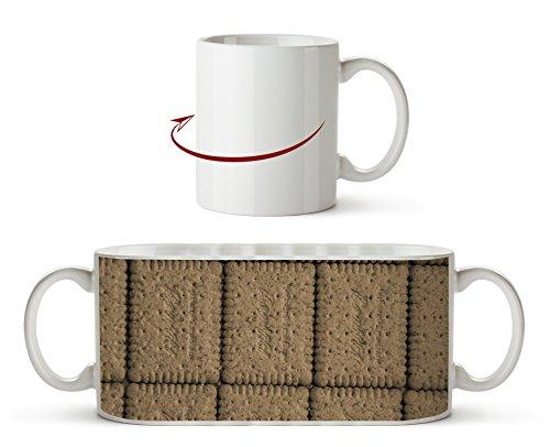 köstliche Mini Kekse Effekt: Sepia als Motivetasse 300ml, aus Keramik weiß, wunderbar als Geschenkidee oder ihre neue Lieblingstasse. -