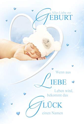 Babykarte Junge   Glückwunschkarten zur Geburt Junge   Geburtskarten   Grußkarten Geburt   Karte Baby im Set   Karte in Folie   DIN A6   Klappkarte inkl. Umschlag   Motiv: Boy