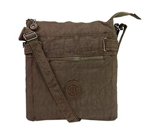 Tasche Braun Stoff Handtaschen (sportliche Handtasche/Schultertasche/Umhängetasche aus Nylon braun)