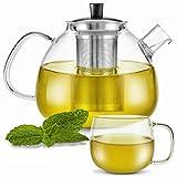 Zoe&Mii Teeservice - Teekanne mit Siebeinsatz - Teekanne mit Tasse - Teebereiter aus Glas 1.5 Liter - Teekessel mit Tasse - Glaskanne für losen Tee und Teebeutel