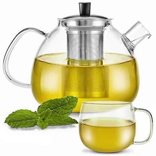 Zoe&Mii Teekanne - Teekanne Glas - Teekanne mit Siebeinsatz -Teebereiter aus Glas 1.5 Liter - Teekessel mit Tasse - Glaskanne für losen Tee und Teebeutel