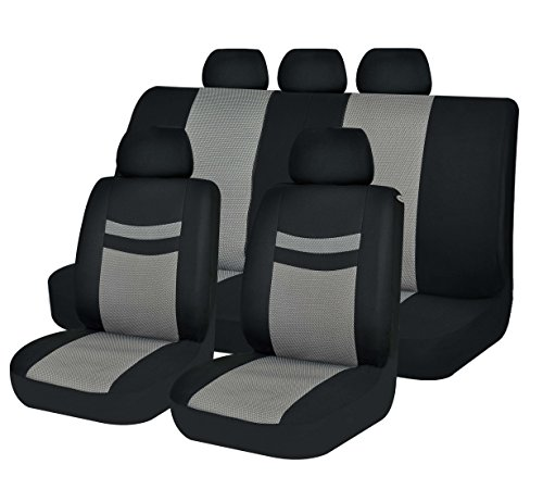 CAR SEAT COVERS AIRBAG UNIVERSAL FIT TRUCKS JEEP SUV BREATHABLE MESH SUIT 4 SEASON SPLIT BENCH BUCKET PROTECTOR 40/60 50/50 3 ZIPPERS ACSC1611-11PCS GRAY