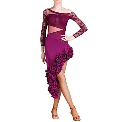 Indischen Klassischen Kostüm Tanz - Yinglihua Bauchtanz Kleid Spitze drapiert langärmelige Latin Dance kostüm Gesellschaftstanz kostüm Anzug professionelle Leistung Rock Spiel Dress Set Damentanzkostüm (Farbe : Lila, Größe : S)