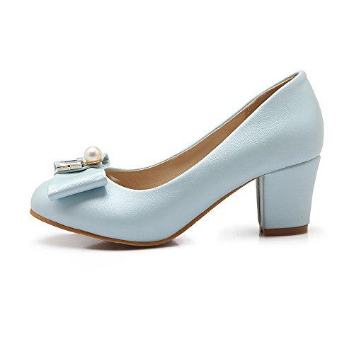 Tire à Couleur Matière AgooLar Bleu Chaussures Unie Légeres Femme Talon Correct Mélangee 7Aatwt8q