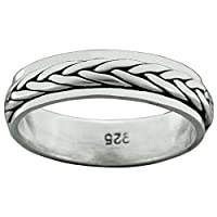 Twisted rotating Spinner Band Ring 925 Sterling Silver 5-6.5 g Celtic BELDIAMO (Z)