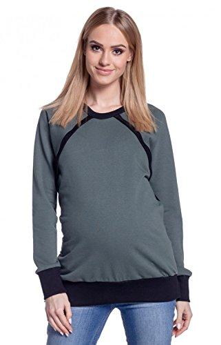 Happy Mama. Femme Sweat-Shirt D'allaitement Top Manches Longues Maternité. 344p Kaki