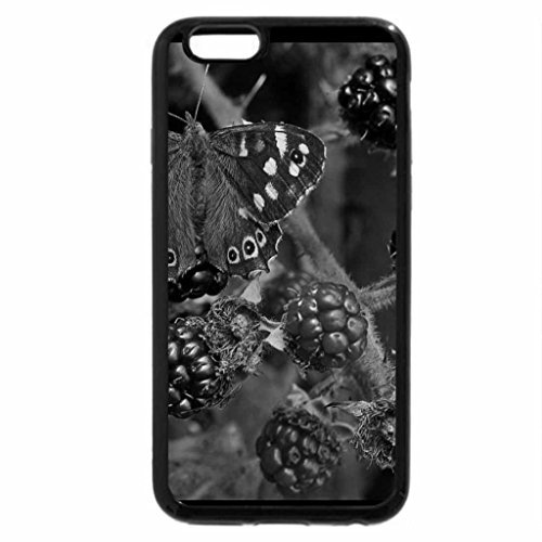 iPhone 6S Case, iPhone 6 Case (Black & White) - Butterflies and berries. (Butterfly Berry)