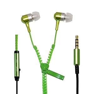 Zipper Style Earphones / Handfree For Karbonn Titanium Mach Two - Green