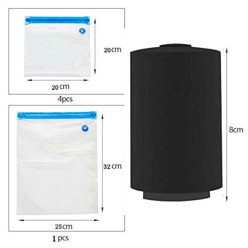 KHKJ Mini Portable USB Rechargeable Automatic Vacuum Sealer Pump Machine with 5 Vacuum Bag Blue Orange Black -