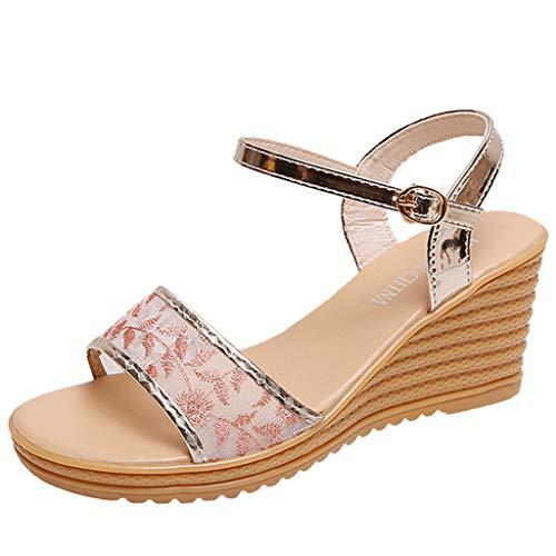 Sommerschuhe Offener Sommer Espadrilles Hroijsl Splints Elegant Schuhe Wedges Leder Low Casual Damen Womens Heeled Knöchelriemen Strand Zeh Bunion dhQrCts